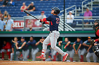Lowell Spinners Nick Decker (21) bats during a NY-Penn League game against the Batavia Muckdogs on July 11, 2019 at Dwyer Stadium in Batavia, New York.  Batavia defeated Lowell 5-2.  (Mike Janes/Four Seam Images)