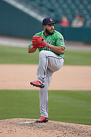 Gwinnett Stripers relief pitcher Daysbel Hernandez (36) in action against the Charlotte Knights at Truist Field on May 9, 2021 in Charlotte, North Carolina. (Brian Westerholt/Four Seam Images)