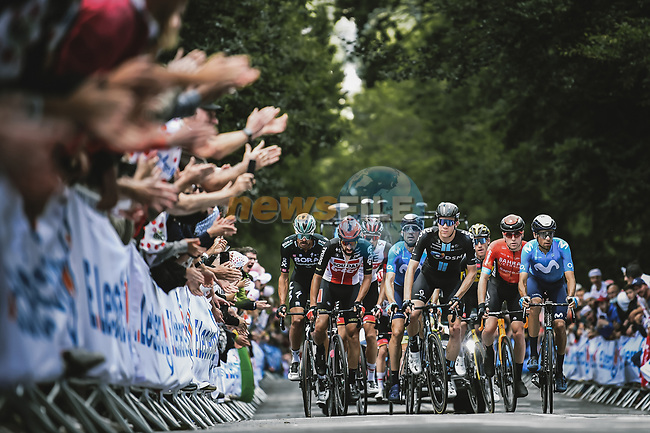 The peloton on the first ascent of Mur-de-Bretagne during Stage 2 of the 2021 Tour de France, running 183.5km from Perros-Guirec to Mur-de-Bretagne Guerledan, France. 27th June 2021.  <br /> Picture: A.S.O./Pauline Ballet | Cyclefile<br /> <br /> All photos usage must carry mandatory copyright credit (© Cyclefile | A.S.O./Pauline Ballet)
