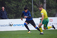 Haris Zeb and Noah Boyce chase the ball during the Central League football match between Miramar Rangers and Lower Hutt AFC at David Farrington Park in Wellington, New Zealand on Saturday, 10 April 2021. Photo: Dave Lintott / lintottphoto.co.nz