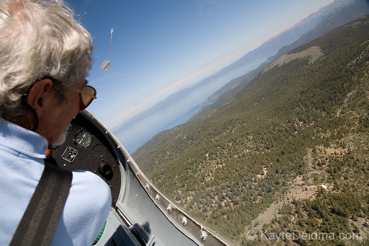 Taking a glider plane ride over Lake Tahoe with Gliders Minden in Minden, NV