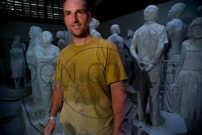 Jason deCaires Taylor at his studio in Puerto Moralos, Mexico. He is the artist creating the Underwater Sculpture Museum - Cancun. Scheduled for completion in December 2010, it will be the world's largest underwater museum. Over 400 statues are to be installed on the seabed to become a major tourist attraction as well as an artificial reef.