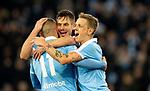 MFF-AIK, Allsvenskan 10282019. Guillermo Molins, Markus Rosenberg and Sören Rieks celebrate MFF's 2-0 goal vs AIK.