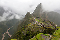 Peru, Machu Picchu.  Urubamba River, Lower Left,  Seen from Guardhouse.