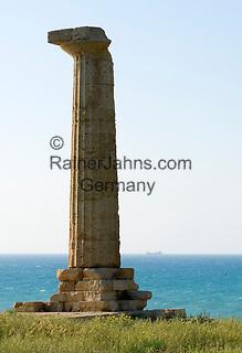 Italy, Calabria, near Crotone: only left Doric column of Greek temple of Hera Lacinia at Museo del Parco Archeologico di Capo Colonna