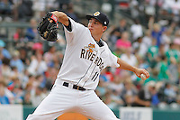 Charleston RiverDogs pitcher Chaz Hebert (11) on the mound during a game against the Augusta GreenJackets at Joseph P.Riley Jr. Ballpark on April 15, 2015 in Charleston, South Carolina. Charleston defeated Augusta 8-0. (Robert Gurganus/Four Seam Images)