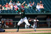 Great Lakes Loons Miguel Vargas (11) at bat during a Midwest League game against the Wisconsin Timber Rattlers at Dow Diamond on May 4, 2019 in Midland, Michigan. Great Lakes defeated Wisconsin 5-1. (Zachary Lucy/Four Seam Images)