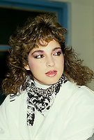 Montreal (Qc) CANADA - August 28, 1988 File Photo -<br /> Miami Sound Machine singer<br /> Gloria Estefan  in a press conference  (New Scan)<br /> <br /> -Photo (c)  Images Distribution