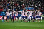 Atletico de Madrid´s players gather during penalty shootouts at the UEFA Champions League round of 16 second leg match between Atletico de Madrid and Bayer 04 Leverkusen at Vicente Calderon stadium in Madrid, Spain. March 17, 2015. (ALTERPHOTOS/Victor Blanco)