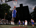 Lance Stephenson (11) soars to the basket for a dunk during the Elite 24 Hoops Classic game on September 1, 2006 held at Rucker Park in New York, New York.  The game brought together the top 24 high school basketball players in the country regardless of class or sneaker affiliation.