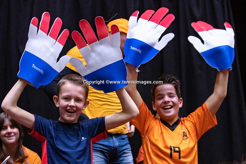 Den Bosch, The Netherlands, Februari 10, 2019,  Maaspoort , FedCup  Netherlands - Canada, doubles match Sunday : Dutch supporters (NED)<br /> Photo: Tennisimages/Henk Koster
