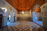 Berber Arabesque decorative interior of Bou Ahmed's Harem. Bahia Palace, Marrakesh, Morroco