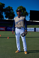AZL Brewers Gold Francis Florentino (26) poses for a photo before an Arizona League game against the AZL Brewers Blue on July 13, 2019 at American Family Fields of Phoenix in Phoenix, Arizona. The AZL Brewers Blue defeated the AZL Brewers Gold 6-0. (Zachary Lucy/Four Seam Images)