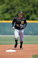 Pittsburgh Pirates Nick Valaika (89) during a minor league Spring Training game against the Atlanta Braves on March 13, 2018 at Pirate City in Bradenton, Florida.  (Mike Janes/Four Seam Images)