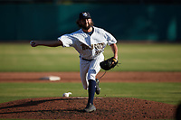 Charleston RiverDogs relief pitcher Andrew Gross (33) in action against the Augusta GreenJackets at Joseph P. Riley, Jr. Park on June 27, 2021 in Charleston, South Carolina. (Brian Westerholt/Four Seam Images)