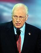 New York, NY - September 1, 2004 -- United States Vice President Dick Cheney accepts his party's nomination for re-election at the 2004 Republican Convention in Madison Square Garden in New York on September 1, 2004..Credit: Ron Sachs / CNP.(RESTRICTION: No New York Metro or other Newspapers within a 75 mile radius of New York City)