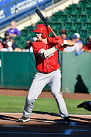 Brett Hanewich (40) of the Orem Owlz bats against the Ogden Raptors in Pioneer League action at Lindquist Field on June 22, 2017 in Ogden, Utah. The Owlz defeated the Raptors 13-8.  (Stephen Smith/Four Seam Images)