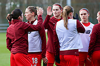 Standard players giving high five before the a female soccer game between Standard Femina de Liege and Sporting Charleroi on the 16th matchday of the 2020 - 2021 season of Belgian Scooore Womens Super League , saturday 13 th of February 2021  in Angleur , Belgium . PHOTO SPORTPIX.BE | SPP | SEVIL OKTEM
