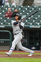 Colorado Springs Sky Sox shortstop Orlando Arcia (2) launches a home run during a Pacific Coast League game against the Iowa Cubs on May 1st, 2016 at Principal Park in Des Moines, Iowa.  Colorado Springs defeated Iowa 4-3. (Brad Krause/Four Seam Images)