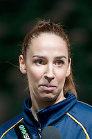 Melbourne, 14 August 2015 - Laura Hodges of the Australian Opals women's basketball team speaks to the media at a press conference on the eve of the game one of the 2015 FIBA Oceania Championships at Rod Laver Arena in Melbourne, Australia. (Photo Sydney Low / sydlow.com)