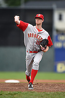 Brooklyn Cyclones pitcher Casey Meisner (12) delivers a pitch during a game against the Batavia Muckdogs on August 11, 2014 at Dwyer Stadium in Batavia, New York.  Batavia defeated Brooklyn 4-3.  (Mike Janes/Four Seam Images)