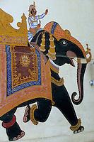 Asie/Inde/Rajasthan/Udaipur : City Palace - Palais du roi d'Udaipur - Détail peinture de mariage - Elephant