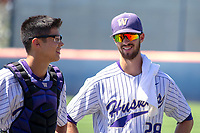 University of Washington Huskies Chris Micheles (28) and Michael Petrie (27) prior to the game against the Cal State Fullerton Titans at Goodwin Field on June 09, 2018 in Fullerton, California. The Cal State Fullerton Titans defeated the University of Washington Huskies 5-2. (Donn Parris/Four Seam Images)