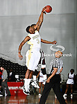 Alabama State Hornets forward Shareif Adamu (3) in action during the SWAC Tournament game between the Alabama State Hornets and the  Alabama A&M Bulldogs at the Special Events Center in Garland, Texas. Alabama State Hornets defeat Alabama A&M Bulldogs 81 to 61