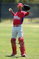 March 30, 2010:  Catcher Marlon Mitchell (10) of the Philadelphia Phillies organization during Spring Training at Bright House Field in Clearwater, FL.  Photo By Mike Janes/Four Seam Images