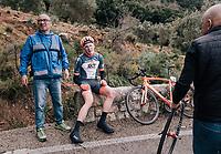 Louis Leinau (DEU/Sauerland-NRW) crashed in the slippery descent of the Coll de Soller<br /> <br /> Trofeo Lloseta - Andratx: 140km<br /> 27th Challenge Ciclista Mallorca 2018