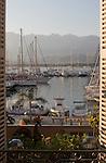 View from French Cafe, Calvi, Coastal towns in Corsica, Haute Corse, Corsica, France, Mediterranean Coast, morning, summer,