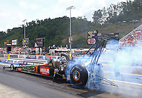 Jun 21, 2015; Bristol, TN, USA; NHRA top fuel driver Terry McMillen during the Thunder Valley Nationals at Bristol Dragway. Mandatory Credit: Mark J. Rebilas-