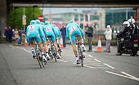Team Astana in action; Michele Scarponi (ITA/Astana) wearing the number 1<br /> <br /> Giro d'Italia 2014<br /> stage 1: TTT