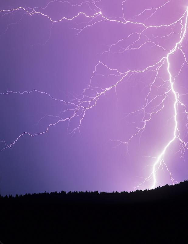 Lightening strikes over farmland. Near Alpine, Oregon