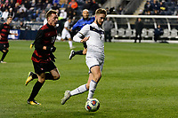 Chester, PA - Friday December 08, 2017: Corey Baird, Sam Gainford The Stanford Cardinal defeated the Akron Zips 2-0 during an NCAA Men's College Cup semifinal match at Talen Energy Stadium.