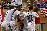 7 June 2011: USA Men's National Team forward Juan Agudelo (9) forward Jozy Altidore (17) defender Steve Cherundolo (6) and USA midfielder Landon Donovan (10) celebrate Jozy Altidore goal in the first half during the CONCACAF soccer match between USA and Canada at Ford Field Detroit, Michigan.
