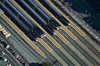 aerial photograph CalTrain commuter rail cars at station San Francisco, California