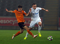 Pictured: Tom Plezier of Swansea City (R) Monday 13 March 2017<br /> Re: Premier League 2, Swansea City U23 v Wolverhampton Wanderers FC at the Liberty Stadium, Swansea, UK