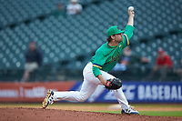 Notre Dame Fighting Irish relief pitcher Sean Guenther (50) in action against the Florida State Seminoles in Game Four of the 2017 ACC Baseball Championship at Louisville Slugger Field on May 24, 2017 in Louisville, Kentucky. The Seminoles walked-off the Fighting Irish 5-3 in 12 innings. (Brian Westerholt/Four Seam Images)