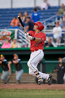 Batavia Muckdogs catcher Igor Baez (29) follows through on a swing during a game against the West Virginia Black Bears on June 19, 2018 at Dwyer Stadium in Batavia, New York.  West Virginia defeated Batavia 7-6.  (Mike Janes/Four Seam Images)