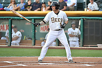 Shawn O'Malley (5) of the Salt Lake Bees at bat against the Round Rock Express in Pacific Coast League action at Smith's Ballpark on August 21, 2014 in Salt Lake City, Utah.  (Stephen Smith/Four Seam Images)