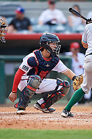 Florida Fire Frogs catcher Brett Cumberland (28) waits to receive a pitch during a game against the Daytona Tortugas on April 7, 2018 at Osceola County Stadium in Kissimmee, Florida.  Daytona defeated Florida 4-3.  (Mike Janes/Four Seam Images)