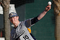 Kent State Golden Flashes pitcher Eric Lauer (10) throwing in the bullpen before a game against the University of Virginia Cavaliers at Ticketreturn.com Field at Pelicans Ballpark on February 19, 2016 in Myrtle Beach, South Carolina. Virginia defeated Kent State 8-6. (Robert Gurganus/Four Seam Images)