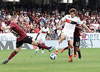 2nd October 2021; Arechi Stadium, Salerno, Italy; Serie A football, Salernitana versus Genoa : Riccardo Gagliuolo of Salernitana  reaches in to dispossess Andrea Cambiaso of Genoa