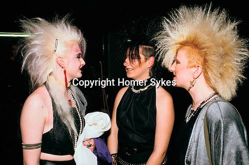 Sigue Sigue Sputnik. Punk band fans with fashionable big hairdos.  1980s  Newcastle Upon Tyne. UK