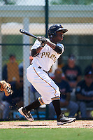 GCL Pirates second baseman Melvin Jimenez (65) at bat during a game against the GCL Braves on August 10, 2016 at Pirate City in Bradenton, Florida.  GCL Braves defeated the GCL Pirates 5-1.  (Mike Janes/Four Seam Images)