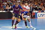 League LNFS 2018/2019.<br /> PlayOff Final. 1er. partido.<br /> FC Barcelona Lassa vs El Pozo Murcia: 7-2.<br /> Ferrao, Valerio & Leo Santana.