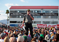 Feb 23, 2020; Chandler, Arizona, USA; Overall view of NHRA announcer Alan Reinhart during the Arizona Nationals at Wild Horse Pass Motorsports Park. Mandatory Credit: Mark J. Rebilas-USA TODAY Sports