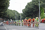 Tinkoff-Saxo and CCC Sprandi Polkowice teams on the front of the peloton during Stage 6 of the 2015 Presidential Tour of Turkey running 184km from Denizli to Selcuk. 30th April 2015.<br /> Photo: Tour of Turkey/Mario Stiehl/www.newsfile.ie