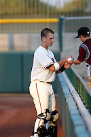 Buster Posey / AZL Giants signs an autograph for a young fan at Scottsdale Stadium - 08/24/2008..Photo by:  Bill Mitchell/Four Seam Images
